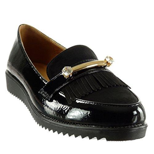 Angkorly - damen Schuhe Mokassin - Slip-On - Schmuck - Fransen - Patent Keilabsatz 2.5 CM Schwarz