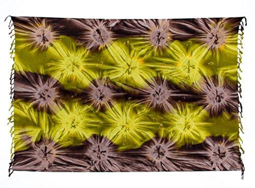 Sarong ca. 170cm x 110cm Handbemalt Tie Dye Batik inkl. Sarongschnalle im Raute Design - Viele exotische Farben und Tie Dye Muster zur Auswahl - Pareo Dhoti Lunghi Tie Dye Braun Grün Batik