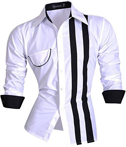 jeansian Herren Freizeit Hemden Shirt Tops Mode Langarmshirts Slim Fit Z021 White