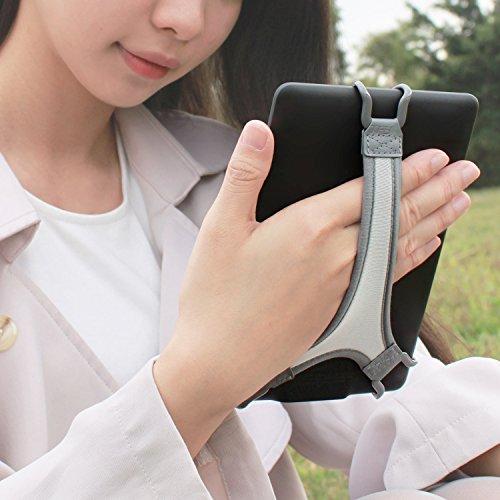 TFY Sicherheitshalteband Halterung Ständer für die Hand Fingergriff für Kindle E-Reader - Kindle e-reader 6 Zoll / Kindle Paperwihite / Kindle Voyage / Kindle Oasis / NOOK GlowLight Plus / SONY PRS-300 / SONY PRS-350 / Kobo Aura / Kobo Touch 2.0 (Grau)