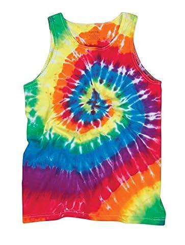 Bright Flourescent Rainbow Swirly Spiral Unisex Adult Tie Dye Tank Top Shirt