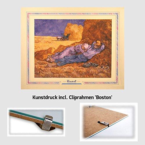 Kunstdruck Van Gogh - Bauern im Heu idyllische Mittagsstunde 40 x 50 cm mit MDF-Bilderrahmen Milano & Acrylglas reflexfrei, viele Farben zur Auswahl, hier Cliprahmen 'Boston'