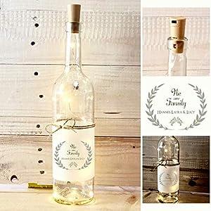 Besonderes Geschenk – Dekoflasche mit Beleuchtung – Originelles Familiengeschenk- personalisiert mit den Namen der…