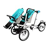OUKANING Zwillinge Kinderwagen Pushchair Dreiräder Folding Bicycle Kinderwagen (blue)
