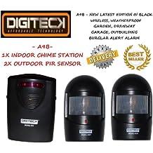 Detector de Movimiento Impermeable Color Negro - Alarma Anti Ladrones o Alerta de Visitantes - Para Jardín Garaje Almacén Entrada