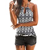 Damen Sommer Vintage Sommer Riemchen Weste Top Ärmelloses Shirt Bluse Casual Tank Tops (M, Grau)