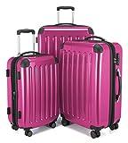 HAUPTSTADTKOFFER - Alex - 3er Koffer-Set Trolley-Set Rollkoffer Reisekoffer Erweiterbar, 4 Rollen, TSA, (S, M & L), Magenta