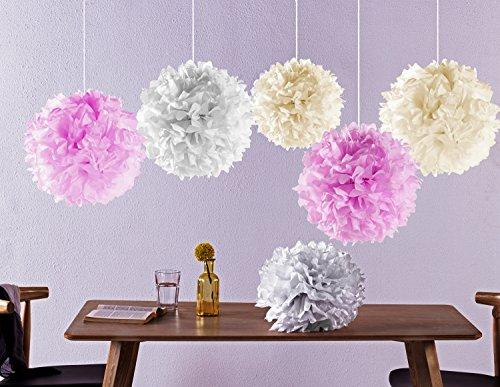 Laneta Seidenpapier Pompons - 12 Pompom in verschiedenen Farben - altweiss rosa creme (3 Bands Hochzeit Sets Für Die Frau)