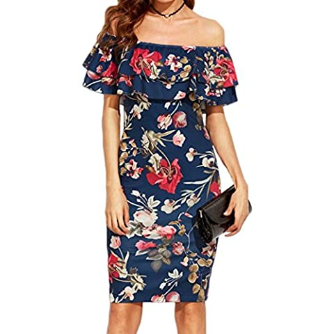 Summer Dress, Familizo Ladies Floral Print Off The Shoulder Ruffle