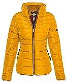 Marikoo Damen Winter Jacke Steppjacke hoher Stehkragen Teddyfell B354 [B354-Amber-Gelb-Gr.XS]