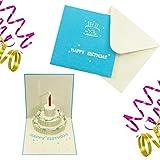 Die besten UNIQUE Kerzen - Oblique-Unique 3D Geburtstagskarte Blau Torte & Kerze I Bewertungen