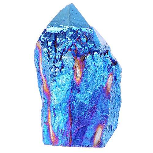 JOVIVI Pierre d'Energie Precieuse Irregulier Titane Titanium Coated Stone Cristal Quartz Blanc Point Colonne de Cristal Bibelot Decoration + Coffret Cadeau - Bleu Fonce