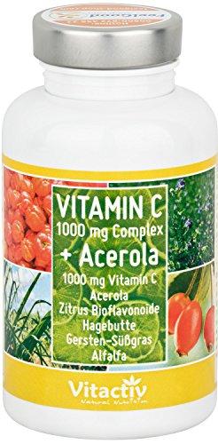 VITAMIN C 1000 COMPLEX + Acerola - Die hochdosierten natürlichen Vitamin C Tabletten mit 7 verschiedenen Vitamin C Arten (100 Tabletten)