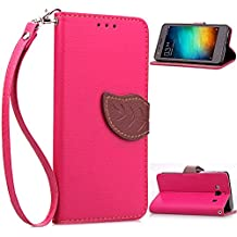 Redmi 2A Funda,+Free Gifts Multifunctional Data Line SongNi® TPU Leather Wallet Funda,Leaf shape Magnetic Closure,Card Slot,Wallet,Stand,Flip leather Funda for Redmi 2A-Roseo
