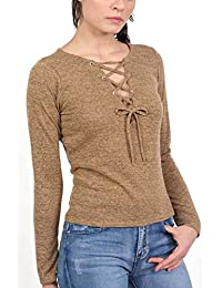 PILOT® dentelle à manches longues à l'avant tricotée top