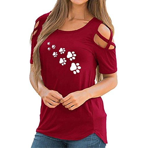 ❤️ Tops damen sommer,Loveso Damen Sommer Loses Kalte Schulter Kreuz und quer Kurzarm T-Shirt Rundhals mit Hund Fußabdruck Blumen Casual Oberteil Tops Bluse Shirt (b-Rot❤️, XL) Xl Hund Sweatshirts