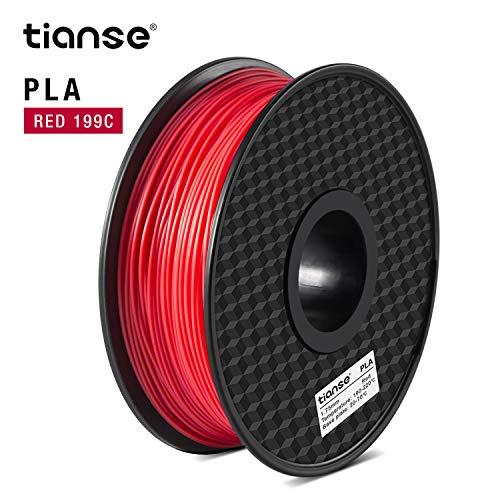 TIANSE PLA Filament 1.75 mm 1 kg, PLA Filamento de Impresora 3D, Filamento PLA 1.75 mm, Precisión Dimensional +/- 0.03 mm, 1 kg(2.2 lbs), Spool for 3D Printers and 3D Pens Rojo-199C