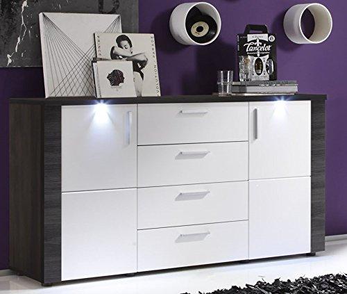 trendteam XP87310 Sideboard Wohnzimmerschrank Esche grau Nachbildung, Fronten weiß Nachbildung, BxHxT 150x82x42 cm - 3