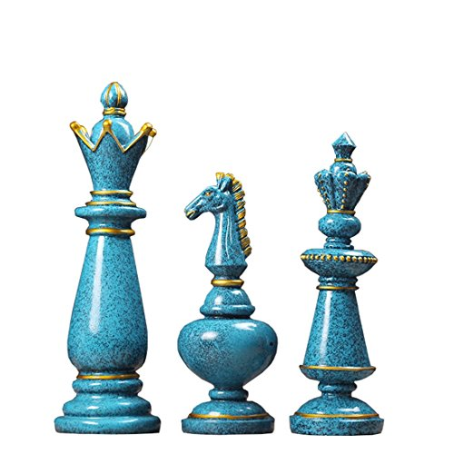 SUNWUKONG Blue Chess Pieces Resin Sculpture Artwork Art Home Decoration - Estatuillas Creativas Escritorio Ornamentos Estatua Sala de Estar Restaurante Café Bar Decoración