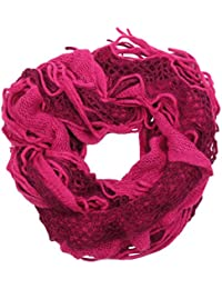 Ladies Knitted Ruffle Scarf with Tassels AT98