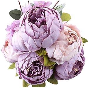 Houda künstliche Kunstblumen Seidenblume kunstblumen pfingstrosen Künstliche Pfingstrose Hochzeitssträuße Dekoration für Zuhause Küche Büro Garten drinnen und draußen (Violett (New Purple))