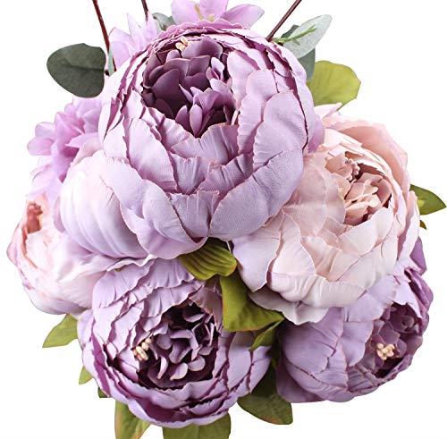 Houda künstlicher Pfingstrosen-Strauß, Kunstblumen aus Seide, Bouquet für Zuhause oder als Hochzeitsdekoration Violett (New Purple)