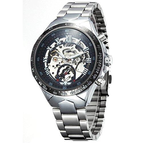 Winner Maenner schwarze Skeleton automatische mechanische Silber Edelstahl Band-Uhr