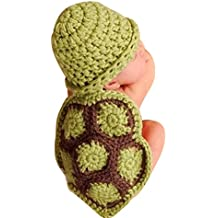 QinMM Bebé recién Nacido Accesorios de Fotos Disfraz Punto Crochet Tortuga Forma Beanie Sombrero Gorra Traje