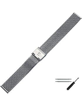 MARBURGER Uhrenarmband 16mm Edelstahl Silber - Edelstahl - Inkl. Zubehör - Ersatzarmband, Schließe Silber - 84904160020