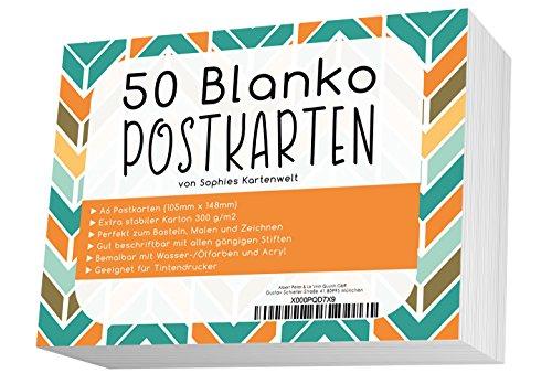 50 Blanko Postkarten/Postkarten Blanko in weiß 300g/Postkarten zum Selbstgestalten und Selbstbedrucken/von Sophies Kartenwelt