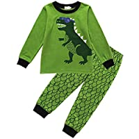 Tkria Kids Boys Pyjamas Set Dinosaur Nightwear Sleepwear Long Pjs Set Size UK 1 to 7 Years (3-4 Years, Green 6)