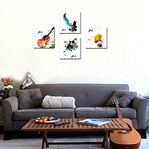 Imagen de amosi art 4piezas lienzo pared arte  piano fonógrafo y tambor set cuatro tipos de instrumentos de música clásica imagen música pintura giclée art para decoración del hogar con marco listo para colgar alternativa