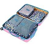 Jakiload Borsa da Viaggio 6 Set di Borse da Viaggio Gruppo Abbigliamento da Viaggio Prestazioni Finitura Sacchetto Fiore Stoffa Serie di stoccaggio Sei Set (Color : Blue Flowers)