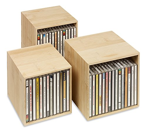 cubix Neu! CD-Box Bambus - CD-Aufbewahrungs-Boxen aus Holz: 3 CD-Boxen für bis zu 40 CDs. Dekoratives, ansprechendes Design. CD-Aufbewahrung mit Stil. - Aufbewahrung Boxen Dekorative