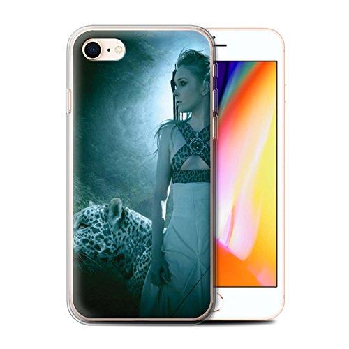 Officiel Elena Dudina Coque / Etui Gel TPU pour Apple iPhone 8 / Félins/Léopard/Guerrier Design / Les Animaux Collection Félins/Léopard/Guerrier
