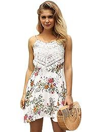 28f830577 Dxlta Vestido de las mujeres florales impresos correa de espagueti borlas  Patchwork playa sin respaldo vestidos