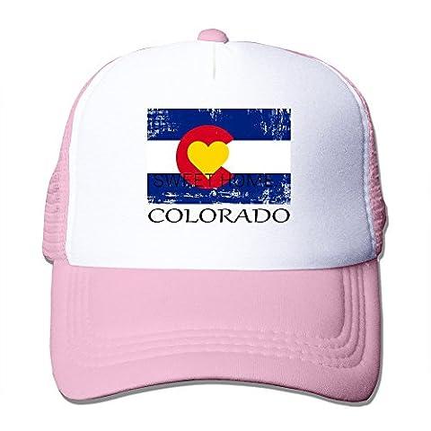 Long5ZG Unisex Adjustable Colorado Love Flag Snapback Cap Trucker Hat / Headwear Black