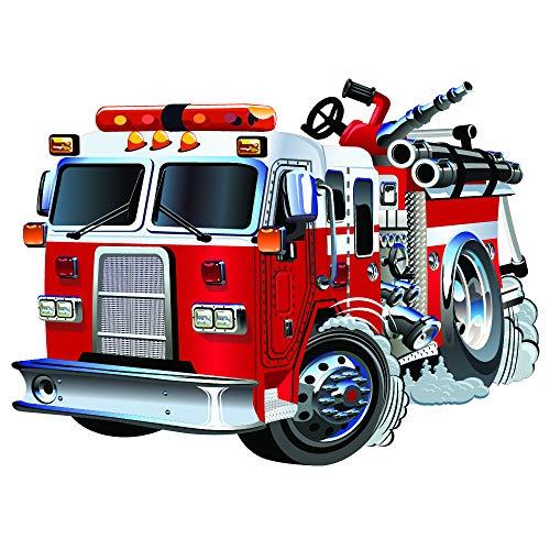 feuerwehr wandtattoo azutura Red Fire Truck Wandtattoo Feuerwehr Wand Sticker Jungen Schlafzimmer Haus Dekor Erhältlich in 8 Größen XX-Groß Digital