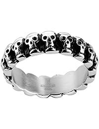 joyliveCY 2018la moda mujer elegante hombres de acero inoxidable dedo anillo con relleno con Compatible Conma de calavera Cool Maya Retro Punk