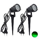 MBO 2er- Pack/5W LED Gartenstrahler Rasen Licht/IP65 Außenbereich Wasserdichten/Hat Stecker/Scheinwerfer 85-265V (Grün)