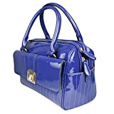 Miss Lulu Womens Patent Leather Bowler Bag (Navy)