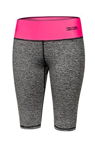 FITTECH GYM Damen Thermoaktiv Legging Leggins Strumpfhose Tights Shorts Laufhose Kurz Fitness Yoga Pilates Outdoor Radsport Running (Rosa,...