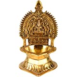 Aone India Brass Lakshmi Diya(11 cm x 8.5 cm x 14 cm, Gold)
