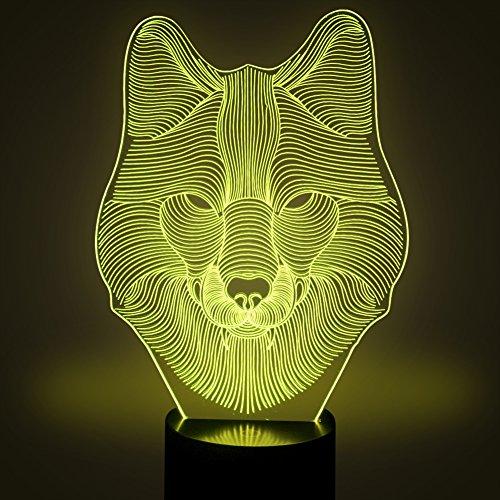 Wolf 3D Optische Illusions Lampen, FZAI 7 Farben Berührungsschalter  Schreibtisch LED Nacht Lichter Mit 150cm USB Kabel Zum Kinder  Weihnachtsgeschenk Haus ...