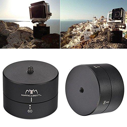 First2savvv XJPJ-ADJ60-01G6 Rotating Ball head Time Lapse 60 minuti panning rotazione cavalletto tempo adattatore stabilizzatore lasso treppiede per Telecamere, DSLR, GoPro di e smartphone + Mini trep XZZ60-01 + luce LED USB