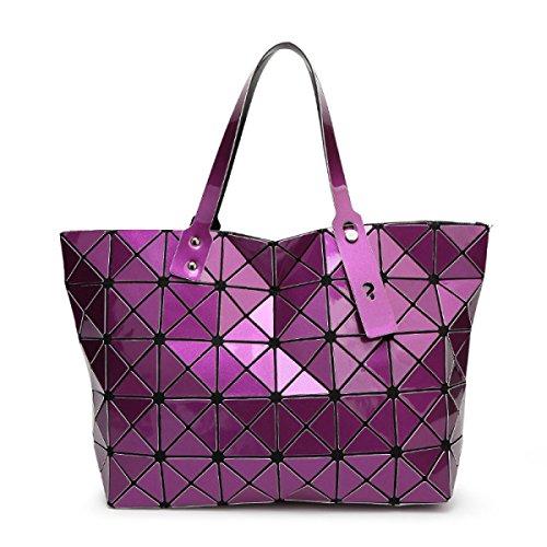 Strawberryer Sacs à bandoulière en cuir femmes Sacs à main géométriques Pliage en sac fourre-tout,purple-43*28*10.6cm