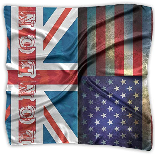 Rghkjlp London And Usa Grunge Flag Womens Large Square Satin Headscarves Silk Like Neckerchief