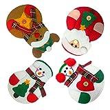 4 Stück Weihnachten Besteck Halter Set Küche Geschirr Taschen Weihnachtsmann Schneemann Elch geformte Messer Gabeln Tasche für Weihnachtsfeier Dekoration Weihnachtsgeschenk von Pretty Comy