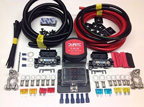 Kit de batería auxiliar Durite VSR Pro SCKD313P (12V, 140A, 3 m), con terminales de batería y caja de fusibles con cable de 110 A