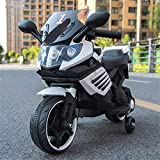 Lvbeis Kinder Elektro Motorrad 12 Volt Akku Motorcycle Musik Kindermoped Kleinkinder Motocross,White